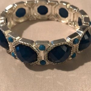 WHBM blue and silver stretch bracelet
